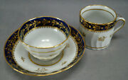 New Hall Pattern 243 Cobalt And Gold Leaf Trio Tea Bowl Coffee Can And Saucer C.1795