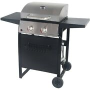 2 Burner Gas Grill Stainless Steel With Small Portable Wheels For Outdoor