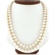 Vintage Long Dual Strand 7.5-8mm Pearl Necklace W/ 14k Gold 0.35ct Diamond Clasp
