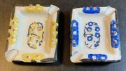 2 Vintage Purse Personal Ashtray Hand Painted Made In Japan Floral Embossed