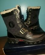 New Polo Hayward Black Leather Hiking Boots Size 13 D