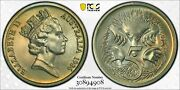 1986 Australia 5 Cents Pcgs Ms68 Unique Green Toned Only 18 Graded Higher