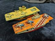 Vintage Rare Tin Toy Warship Aircraft Carrier Made In Japan