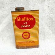 1950s Vintage Rare Shell Shelltox With Dieldrin Insecticide Advertising Tin Box