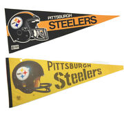 Pittsburgh Steelers Pair Of Vintage Felt Pennants Full Size 12x30 Official Nfl