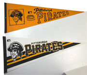 Pittsburgh Pirates Pair Of Vintage Felt Pennants Full Size 12x30 Official Mlb