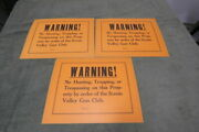 3 Old No Hunting Signs  Scenic Valley Gun Club Very Nice But Old
