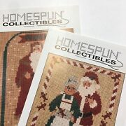 Homespun Collectibles Father Christmas Cross Stitch 2 Patterns Santa Claus Noel