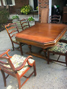 Antique Dining Room Set Table, 6 Chairs And 2 Expansion Leaves
