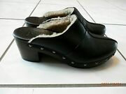 New Uggs Australia Black Leather Sherpa Lined Clogs Heels With Grommets Size 7