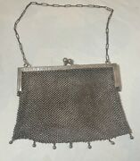 Antique 1800and039s German Silver Metal Mesh Chainmail Clutch Hand Bag Purse 3