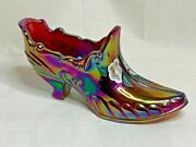 Fenton Art Glass Red Carnival Hand Painted Glass Shoe