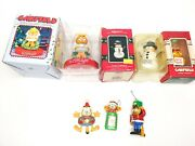 Lot Of 6 Vintage Garfield Christmas Ornament And Magnet Paws Enesco Collection