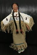 Vintage Lakota Sioux Native American Beaded Doll Leather Hide Moccasins Signed