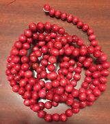 2 Vintage Primitive Cranberry Red Wooden Christmas Garland 9and039