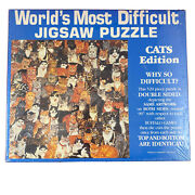 Vtg Worldand039s Most Difficult Jigsaw Puzzle Cats Edition Double Sided 529 Pc Sealed