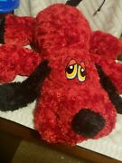 New W/tags Large Dandee Red Hound Dog 30 Plush Black Nose Ears Tail Stuffed