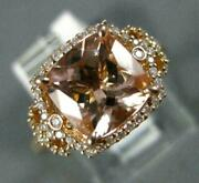 Large 2.20ct Diamond And Aaa Morganite 14kt Rose Gold Cushion Halo Engagement Ring