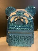New 2021 Disney Cruise Line Loungefly Minnie Mouse Teal Blue Sequin Backpack