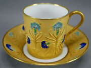 Antique French Hand Painted Blue Carnation Flower And Gold Demitasse Cup And Saucer