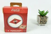 Nos 2003 Coca Cola Ceramic Stone Coasters Set With Cork Back And Wood Holder.