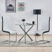 Kitchen Dining Table And 2 High Back Chairs, Glass Round Dining Table Chair Sets