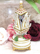 Personalized Wedding Gift For Couple Faberge Egg 24k Gold Ruby Diamond Handmade