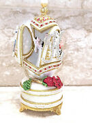 Faberge Anniversary Wedding Marriage Unique Gift 24k Gold Ruby 5ct Real Egg Hmde