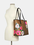 Nwt Coach Tote In Signature Canvas With Vintage Rose Print Snap On Shoulder Bag