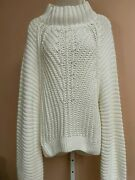 New Free People Women's Off-white / Ivory Soft Cotton Knit Sweater Woman's Xl