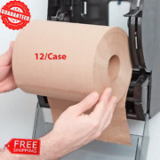 12/case 8 Standard Duty Brown Towel Paper Commercial Dispenser Kraft Roll 600and039
