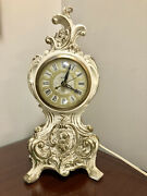 Vintage United Clock Corp Model 82 French White And Gold Electric Mantel Clock
