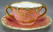 Adderley Raised Gold Flowers And Spiderwebs Pompadour Pink Bouillon Cup And Saucer