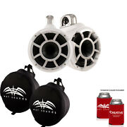 Wet Sounds Rev 8 Swivel Clamp Tower Speakers With Wet Sounds Suitz Covers White