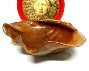 Rare Oceanic Large Shell Inlaid Giant Clam Wood Carving Tridacna Sculpture Bowl