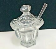 Vintage French Baccarat Crystal Sugar Bowl With Lid And Spoon