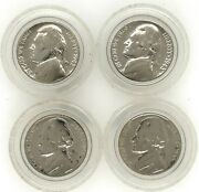 Old Silver Jefferson War Nickels Set Of 4 5c Five Cents 1942p 1943s 1944d 1945p
