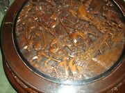 Chinese Hand Carved Table With Glass+4 Stools Purchased In 1968 Argentina