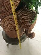 Vintage Wicker Rattan Elephant End Side Accent Plant Stand