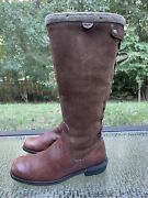 Ugg Smithfield Women's Size 7 Brown Lined 5746 Tall Zip Up Lace Up Boots