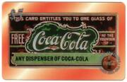 Coca-cola And03996 5. Etched Acetate Free Coke Sampling Coupons Set Of 5 Phone Card