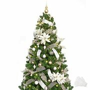 Christmas Tree With Ornaments And Lights Remote And Timer Champagne Decorations