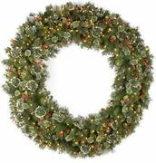 Pre Lit Artificial Christmas Wreath Flocked With Mixed Decorations White Lights