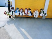 Vintage Christmas Puppy Eyes Snowman Plywood Yard Decoration/ornament Lot Of 10