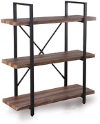 Homissue 3-tier Industrial Bookcase And Book Shelves, Vintage Wood And Metal Boo