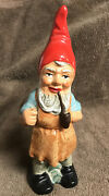 W. Germany Heissner Terre Cotta Pottery Garden Gnome 8 7/8andrdquo Label And Markings