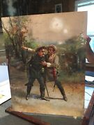 Antique Painting Rare Civil War Soldiers Brothers North South Military