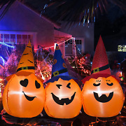 5ft Halloween Inflatables Pumpkin Three Combo With Witches Hat Outdoor Holiday