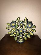 Antique Mexican Pottery Large Tree Of Life Candelabra Candle Holder Folk Art
