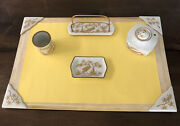 French Limoges Porcelain Small Desk Set Hand Painted Gold For Bullockand039s Wilshire